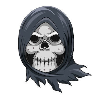 The cartoon of the dead skull grim reaper with the steal blue cloak to cover his head Premium Vector