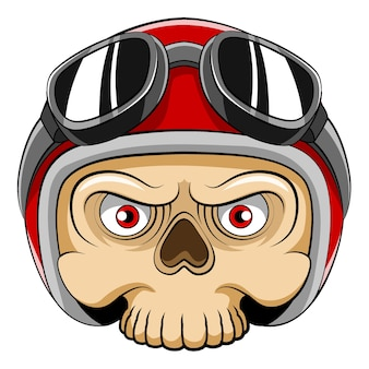 The cartoon of the dead skull head using the red helmet and sunglasses for the mascot bicycle