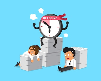 Cartoon deadline clock character and business people