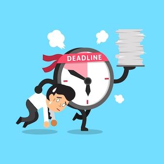 Cartoon deadline clock character and a businessman