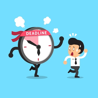 Cartoon deadline clock character and businessman