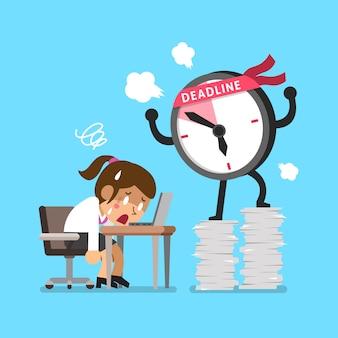 Cartoon deadline clock character and businesswoman