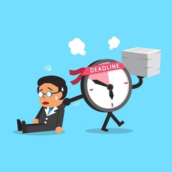 Cartoon deadline clock character dragging businessman