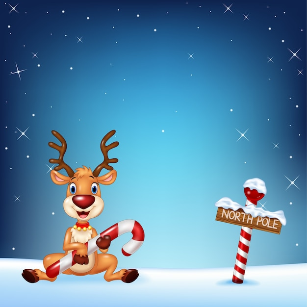 Cartoon deer holding christmas candy with winter background