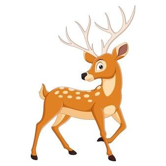 白い背景で隔離の漫画鹿