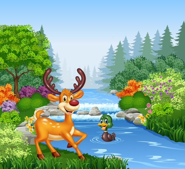 Cartoon deer at the river bank