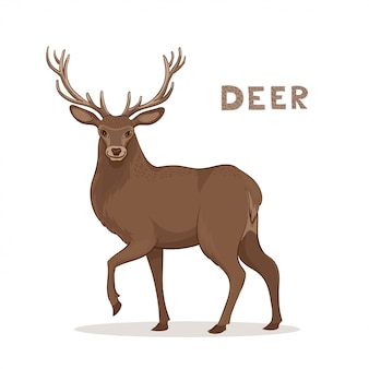 A cartoon deer with long horns