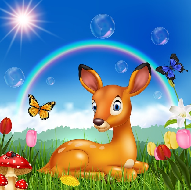 Cartoon deer with nature background