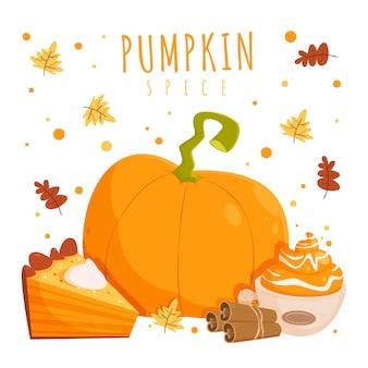 Cartoon delicious pumpkin spice illustration