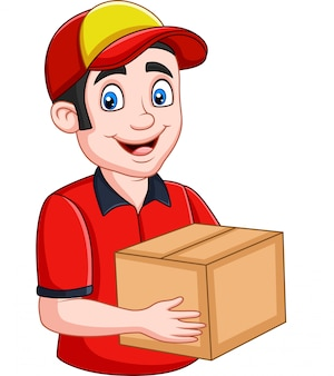 Cartoon delivery courier holding cardboard boxes