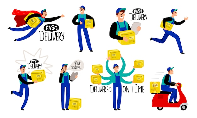 Cartoon delivery courier
