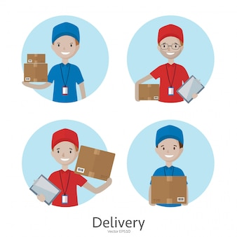 Cartoon delivery man icons