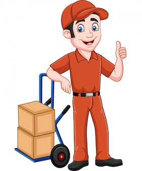 Cartoon delivery man leaning on packages