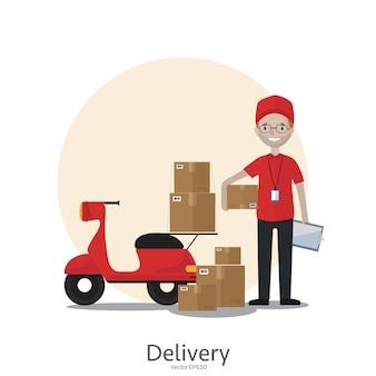 Мультяшный доставщик с мотоциклом