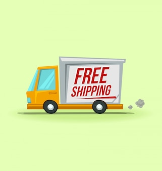 Cartoon delivery truck illustration free shipping template