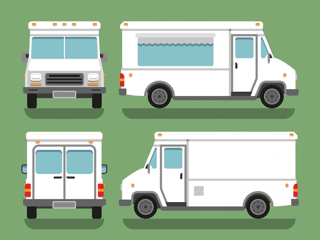Cartoon delivery white blank food box truck vector mockup