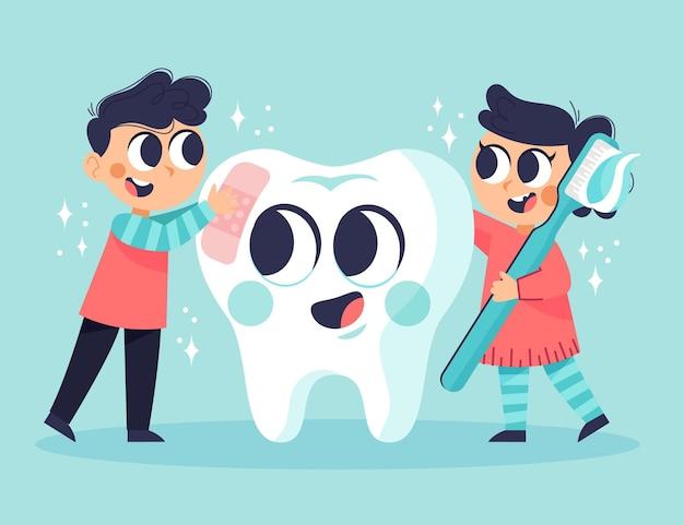 漫画の歯科治療の概念図