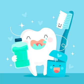 Cartoon dental care concept illustration