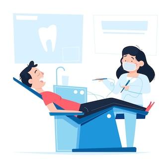 만화 치과 치료 개념