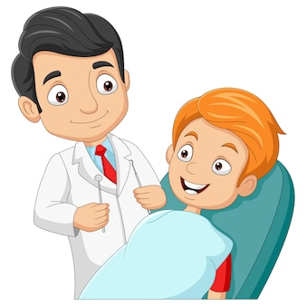 Cartoon dentist checking boys teeth