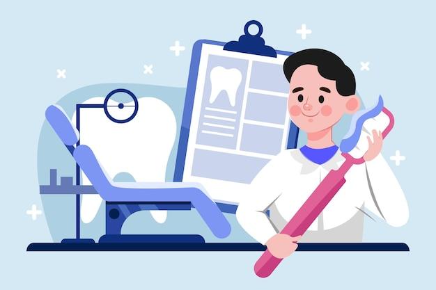 만화 치과 의사 치과 치료 개념