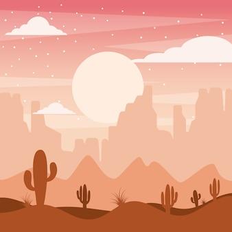 サボテンの丘と山々を持つ漫画の砂漠の風景