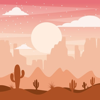 Cartoon desert landscape with cactus hills and mountains