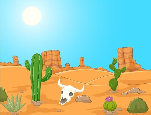 Мультяшный пейзаж пустыни