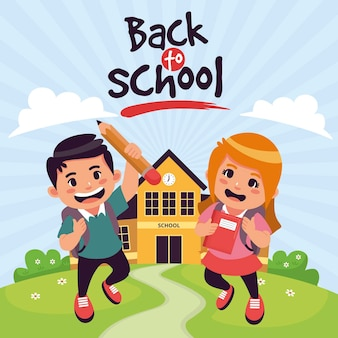 Cartoon design children back to school