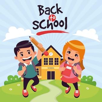 漫画デザインの子供たちが学校に戻る