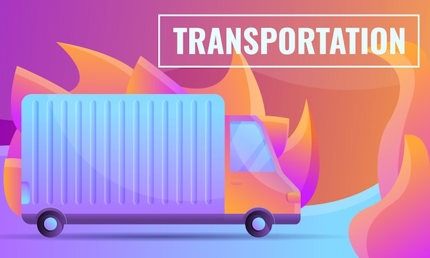車で輸送会社の漫画デザインコンセプト