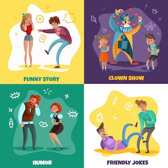 Cartoon design concept with people laughing at funny stories and clown show isolated on colorful