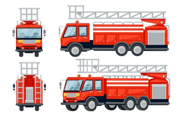 Мультяшный дизайн автомобилей пожарной машины установлен плоский рисунок на белом фоне