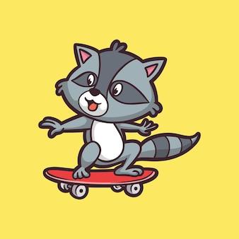 Мультяшный дизайн енотов на скейтборде