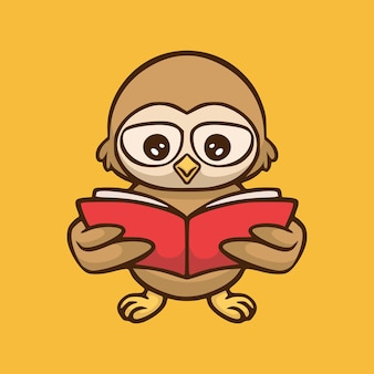Cartoon design of owl reading a book isolated on orange