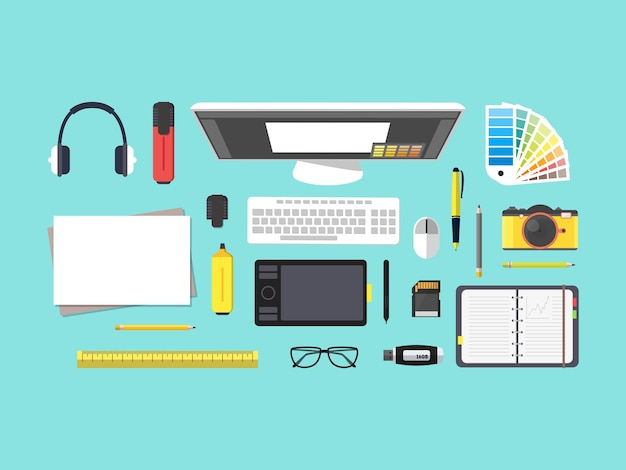 Cartoon designer workplace top view working on computer in office or home flat design style.   illustration