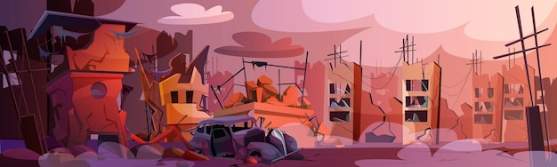 Cartoon destroyed city with abandoned buildings and damaged road