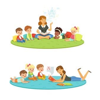Cartoon detailed colorful illustrations isolated
