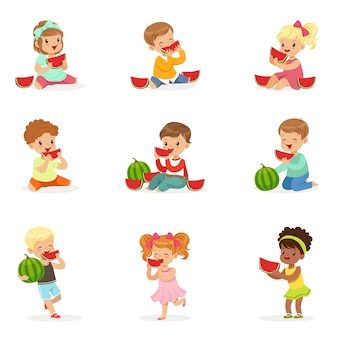Cartoon detailed colorful illustrations  on white background
