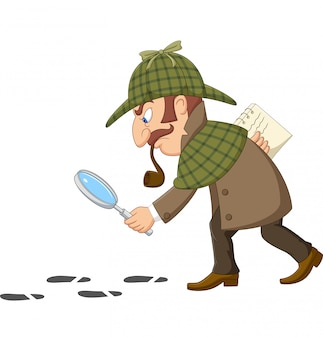 Cartoon of a detective investigate following footprints