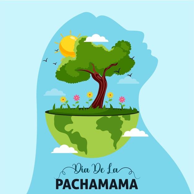 Cartoon dia de la pachamama banner design template