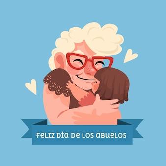 Cartoon dia de los abuelos illustrazione
