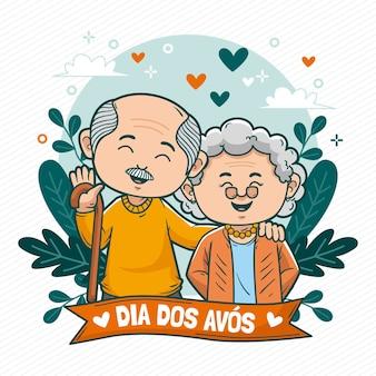 Иллюстрация шаржа dia dos avos