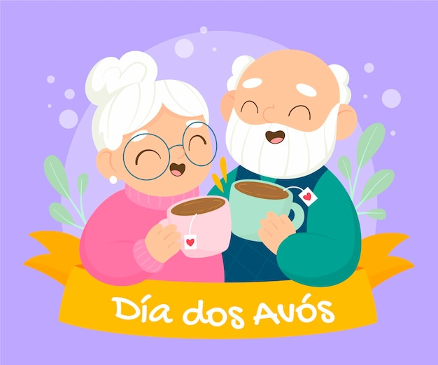 Cartoon dia dos avos illustration
