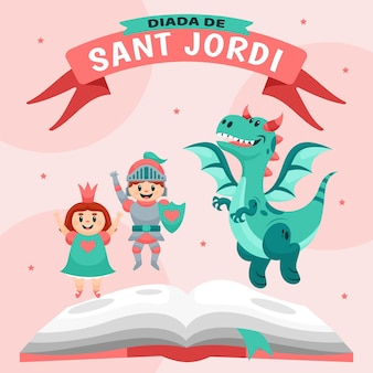 Cartoon diada de sant jordi illustration with knight and princess and dragon