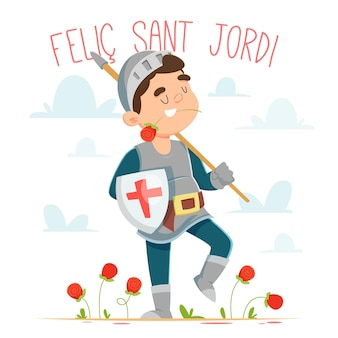 Cartoon diada de sant jordi illustration with knight