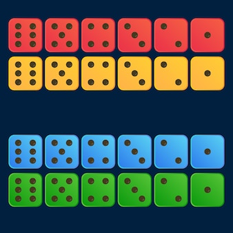 Cartoon dice flat illustration in four color set- red, yellow, blue, green