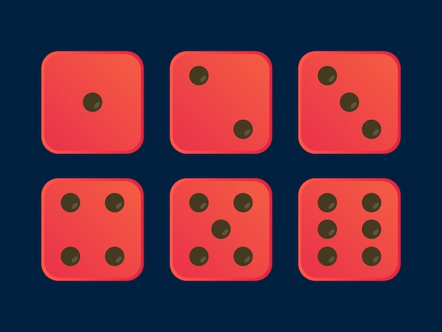 Cartoon dice flat  illustration in red color