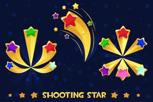 Мультяшные разные стреляющие цветные звезды, игровые активы