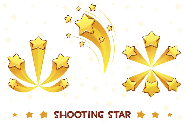 Cartoon different shooting golden stars, game assets